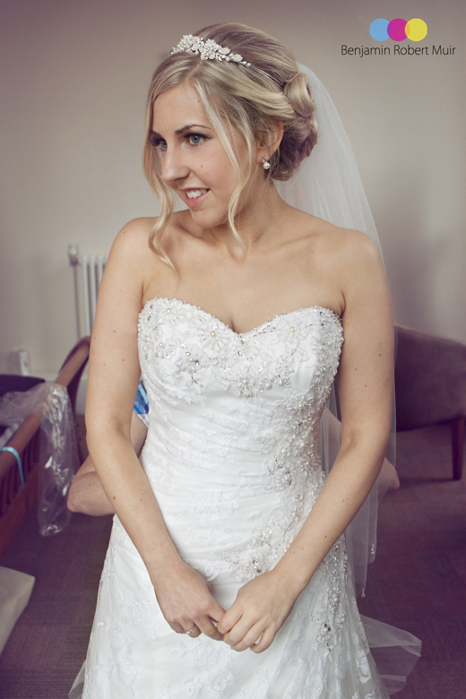 Bristol wedding Photographer takes photograph of a beautiful bride in white wedding dress