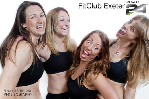 Fit girls at FitClub Exeter having fun using Herbalife 24. Bristol Photographer